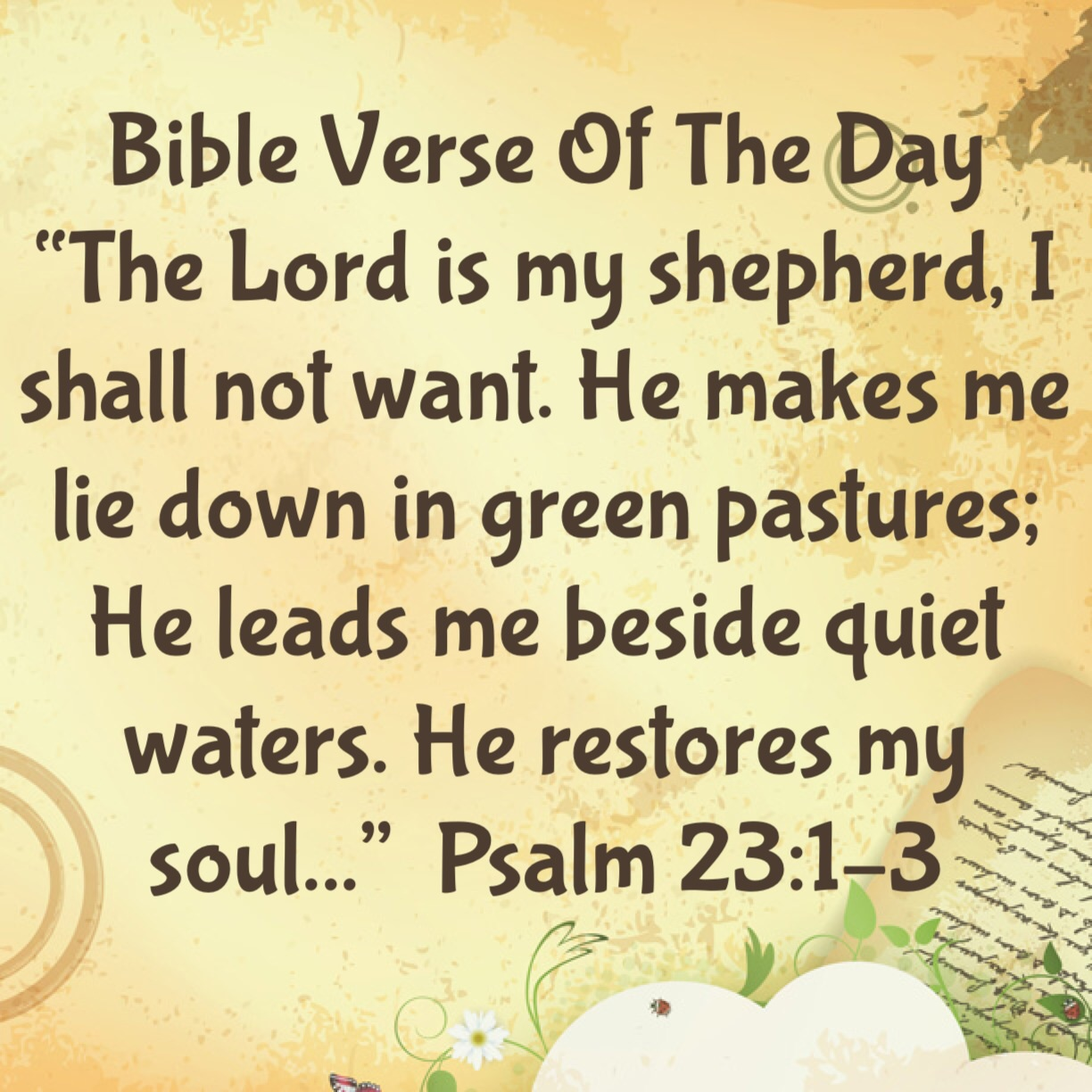 Bible Verse Of The Day The Lord Is My Shepherd Lsw Ministries